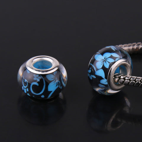 Cerkos.com: 14MM Acrylic European Charms Beads Sterling Silver Cord Big Hole Loose Bead Fit Murano Pandora Bracelet & Bangle Jewelry Finding - Cerkos.com