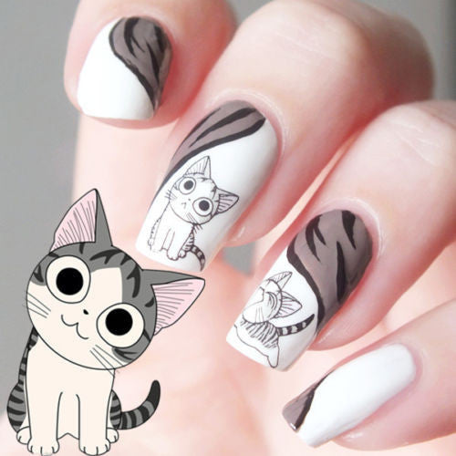 Cat pattern design water transfer Nail Art Stickers Decals For Nail Tips Decoration DIY Decorations Fashion Nail Accessories - Cerkos.com