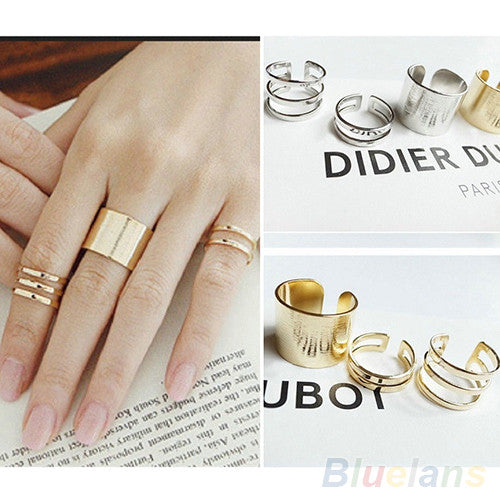 3Pcs/Set Fashion Top Of Finger Over The Midi Tip Finger Above The Knuckle Open Ring 04NH - Cerkos.com