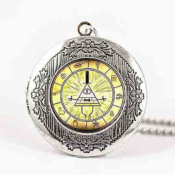 Steampunk Drama Gravity Falls Mysteries BILL CIPHER WHEEL Pendant Necklace glass doctor who chain 1pcs Glass men Pendant jewelry - Cerkos  - 3