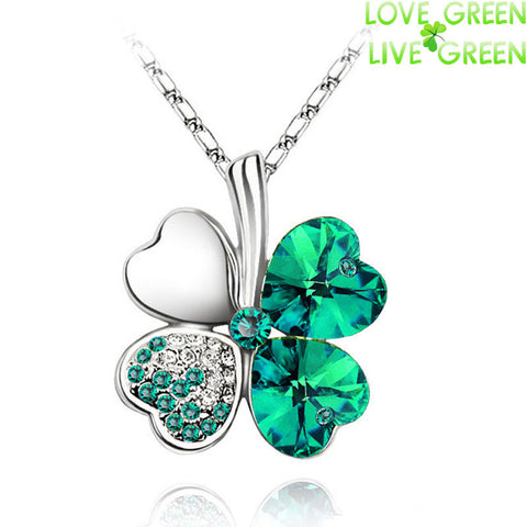 Free Shipping Factory Wholesale Price 18K GP Austrian Crystal Clover 10 colors mixed 4 Leaf Leaves pendant Necklace jewelry 9554 - Cerkos.com