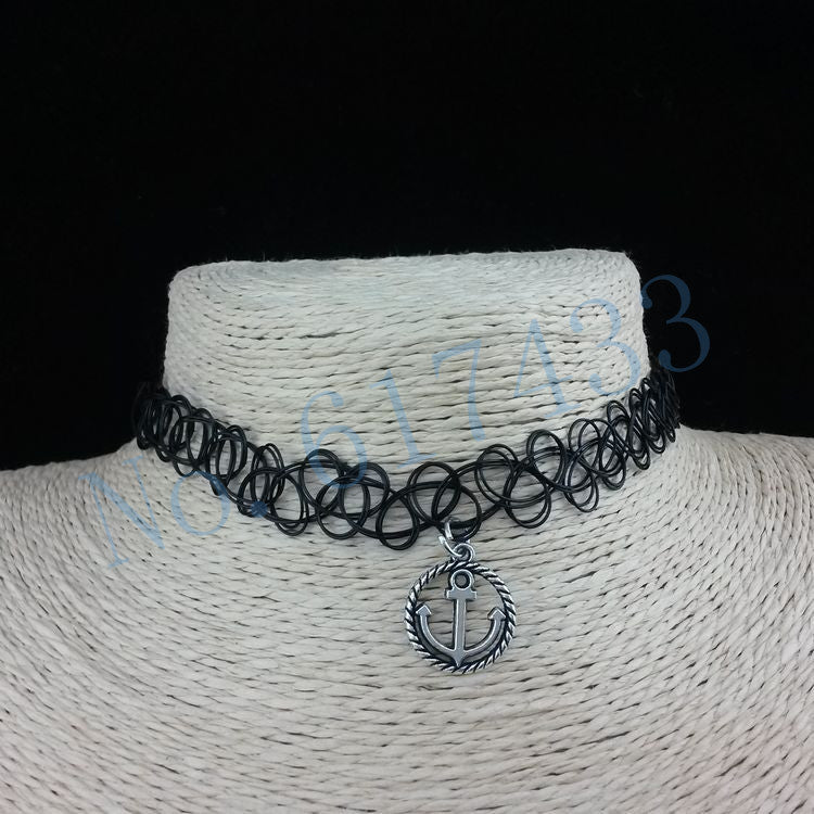 Handmade Hot Selling Vintage Stretch Tattoo Choker Necklace Gothic Punk Grunge Henna Elastic with Pendant Necklaces - Cerkos  - 11