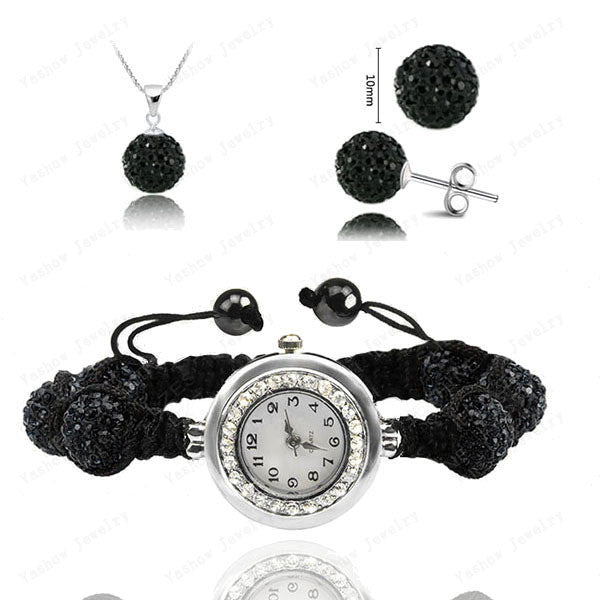 Fashion Watch Crystal Shamballa Set Crystal Pendant+Bracelet+Crystal Earring Jewelry Set 10MM Disco Ball Free Shipping - Cerkos  - 7