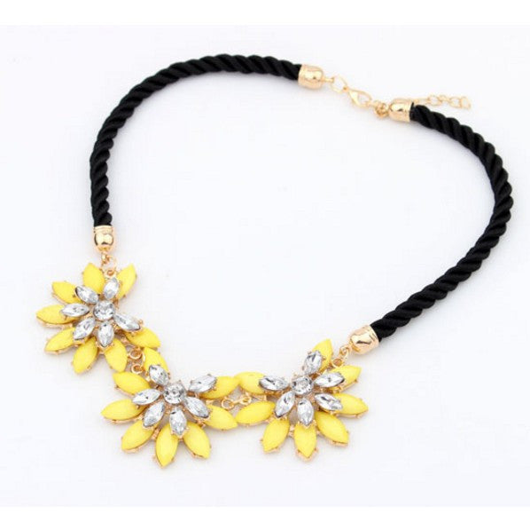 Fashion temperament multilayer geometric Crystal Gem Flower Pendant Necklace luxury women collar A549 - Cerkos  - 3