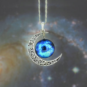 Galaxy Necklace Lovely Moon Galaxy Nebula Space Antique Silver Alloy Pendant Platinum Plated Chain Necklace Couple Gift 2014 HOT - Cerkos  - 10
