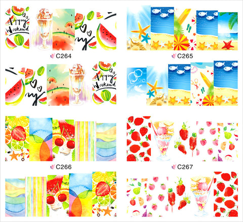 1 sheet Fruit Party Water Transfer Nail Art Stickers Decals Full Nail Foils Wraps DIY Manicure Decoration Tools C264-C267 - Cerkos.com