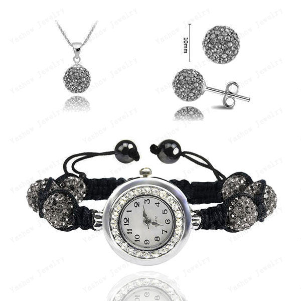 Fashion Watch Crystal Shamballa Set Crystal Pendant+Bracelet+Crystal Earring Jewelry Set 10MM Disco Ball Free Shipping - Cerkos  - 2