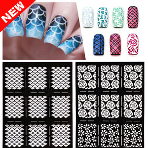 1sheet New Reusable Stamping Nail Art Hollow Stickers Black Vinyls Irregular Grid Pattern Template Stencil Guide Manicure Tools - Cerkos.com