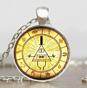 Steampunk Drama Gravity Falls Mysteries BILL CIPHER WHEEL Pendant Necklace glass doctor who chain 1pcs Glass men Pendant jewelry - Cerkos  - 14
