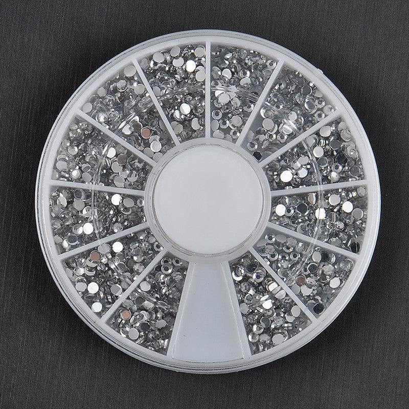 Bulk 2400pcs 1.5mm Sliver 3d Nail Art Studs Plastic Glitter Charms DIY Decoration Stamping Wheel - Cerkos.com