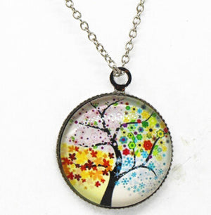 x363 Life Tree Pendant Necklace Art Tree glass cabochon Necklace silver chain vintage choker statement - Cerkos  - 3
