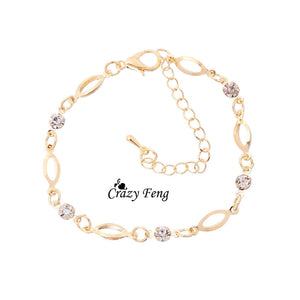 Simple Crystal Bracelets Gold Plated Chain Bracelet for Women Pulseiras Femininas Pulseras Mujer Fashion Hand Jewelry