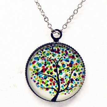 x363 Life Tree Pendant Necklace Art Tree glass cabochon Necklace silver chain vintage choker statement - Cerkos  - 5