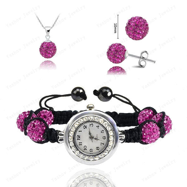 Fashion Watch Crystal Shamballa Set Crystal Pendant+Bracelet+Crystal Earring Jewelry Set 10MM Disco Ball Free Shipping - Cerkos  - 15