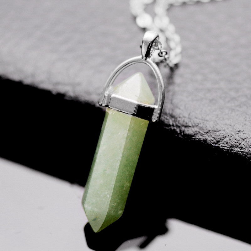 New Paint Spraying Clear Quartz Green Aventurine Pendant Necklace Irregular Natural Stone Pendant Women Gift Jewelry Necklace - Cerkos  - 13
