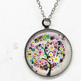 x363 Life Tree Pendant Necklace Art Tree glass cabochon Necklace silver chain vintage choker statement - Cerkos  - 11