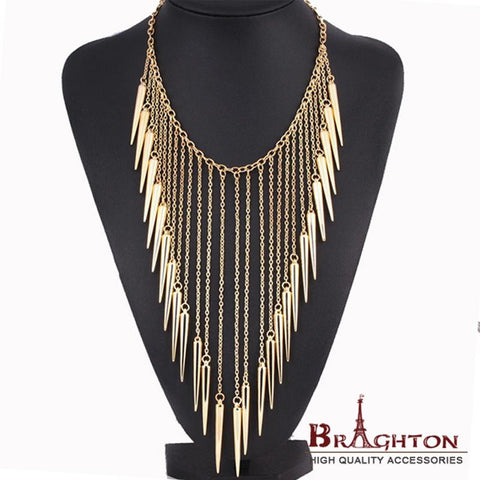2014 New Jewelry European Style Vintage Trench Fashion Necklace Rivet Long Tassel Collar Punk Accessories Women Free shipping - Cerkos.com