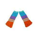 Wiggle Socks Creative Fashion Stripe Middle Tube Socks Women Stripe Cotton Casual Socks Daily Sports GYM Five Toe Socks - Cerkos  - 5