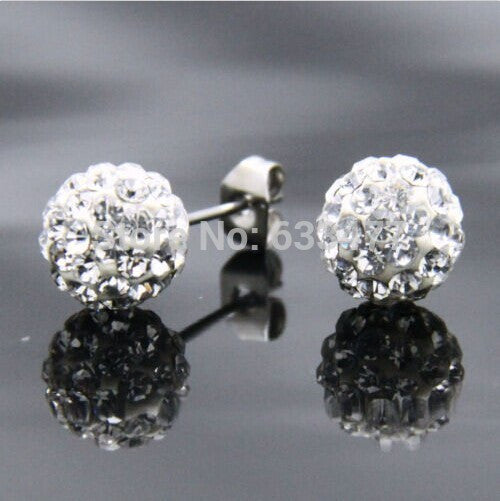 Free Shipping 19 Color 10MM New Shamballa Earrings Micro Disco Ball Shamballa Crystal Stud Earring For Women Fashion Jewelry - Cerkos  - 10
