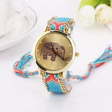 New 2016 Fashion casual DIY Elephant Pattern Women Dress Watches National Weave Gold Bracelet montre femme Quartz Clock Relogio