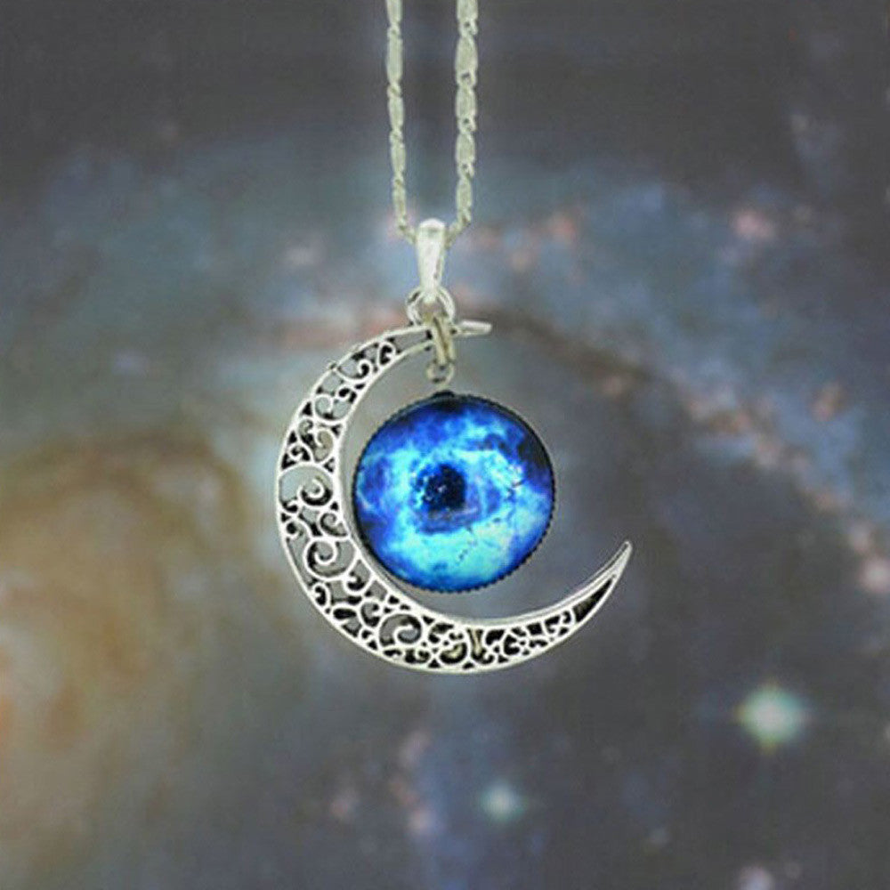 Brand Fashion Jewelry Choker Necklace Glass Galaxy Lovely Pendant Silver Chain Moon Necklace & Pendant - Cerkos  - 7