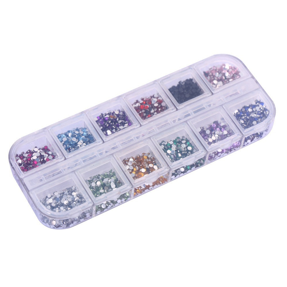 New Portable 3600pcs Nail Art Rhinestones Decoration 1.5mm Round Glitters With Hard Case - Cerkos