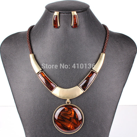 PN12618 Fashion Jewelry Sets Silver Plated Round Pendant Black color Leather Rope High Quality Party Gifts Free Shipping - Cerkos  - 1
