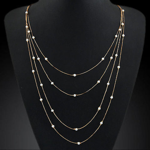 New Hammered Bar Simple Double Chain Charm Pearl Necklace Beads Long Strip Pendant Necklaces Wedding Event Elegant Jewelry PD23 - Cerkos  - 1