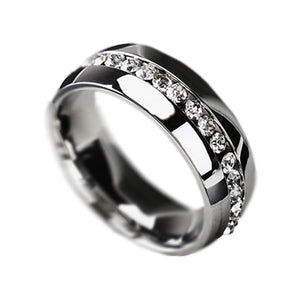New Fashion Jewelry Classic Rings Engagement Wedding Rings Channel-Set Eternity 316L Stainless Steel rings Free Shipping B419 - Cerkos