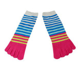 Wiggle Socks Creative Fashion Stripe Middle Tube Socks Women Stripe Cotton Casual Socks Daily Sports GYM Five Toe Socks - Cerkos  - 8