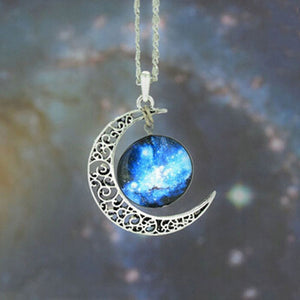 Brand Fashion Jewelry Choker Necklace Glass Galaxy Lovely Pendant Silver Chain Moon Necklace & Pendant - Cerkos  - 5