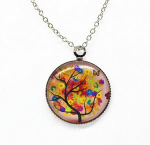 x363 Life Tree Pendant Necklace Art Tree glass cabochon Necklace silver chain vintage choker statement - Cerkos  - 10