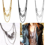 3 Colors Hot Bohemian Necklace Vintage Leaves Multi-layer Alloy Long Necklace Silver Gold Pendant Chain Fashion Jewelry HB88 - Cerkos.com