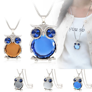 2015 New Long Necklace Popcorn Chain Gray With Blue Crystal Owl Necklace Pendant Necklaces Classic Animal Jewelry For Women Gift - Cerkos.com