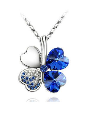 Free Shipping Factory Wholesale Price 18K GP Austrian Crystal Clover 10 colors mixed 4 Leaf Leaves pendant Necklace jewelry 9554 - Cerkos  - 15