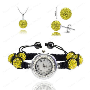 Fashion Watch Crystal Shamballa Set Crystal Pendant+Bracelet+Crystal Earring Jewelry Set 10MM Disco Ball Free Shipping - Cerkos  - 3