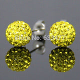 Free Shipping 19 Color 10MM New Shamballa Earrings Micro Disco Ball Shamballa Crystal Stud Earring For Women Fashion Jewelry - Cerkos  - 6
