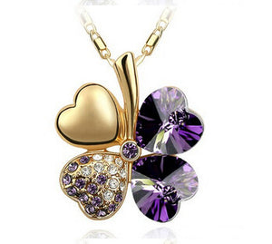Free Shipping Factory Wholesale Price 18K GP Austrian Crystal Clover 10 colors mixed 4 Leaf Leaves pendant Necklace jewelry 9554 - Cerkos  - 16