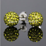 Free Shipping 19 Color 10MM New Shamballa Earrings Micro Disco Ball Shamballa Crystal Stud Earring For Women Fashion Jewelry - Cerkos  - 12