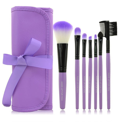 2014 HOT !! Professional 7 pcs Makeup Brushes Set tools Make-up Toiletry Kit Wool Brand Make Up Brush Set Case  PY - Cerkos.com