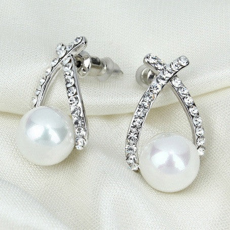 Nice shopping!! 2015 Fashion Gold Crystal Stud Earrings Brincos Perle Pendientes Bou Pearl Earrings For Woman E130 - Cerkos  - 3