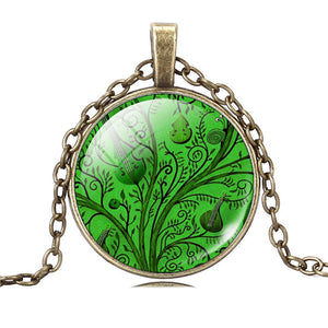 Life Tree Pendant Necklace Eternal Tree Art glass cabochon Bronze chain vintage choker statement Necklace Fashion women Jewelry - Cerkos  - 6