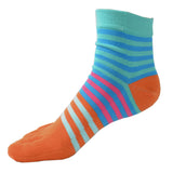 Wiggle Socks Creative Fashion Stripe Middle Tube Socks Women Stripe Cotton Casual Socks Daily Sports GYM Five Toe Socks - Cerkos  - 18