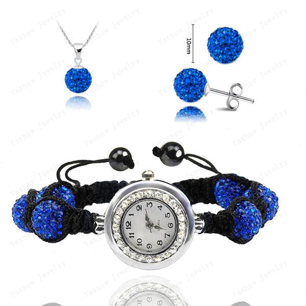 Fashion Watch Crystal Shamballa Set Crystal Pendant+Bracelet+Crystal Earring Jewelry Set 10MM Disco Ball Free Shipping - Cerkos  - 19