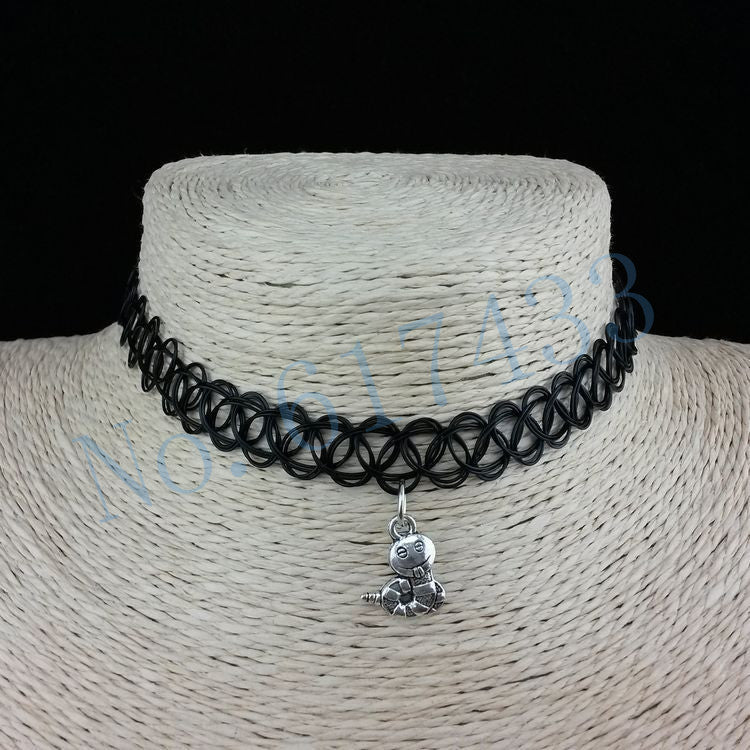 Handmade Hot Selling Vintage Stretch Tattoo Choker Necklace Gothic Punk Grunge Henna Elastic with Pendant Necklaces - Cerkos  - 16