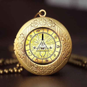 Steampunk Drama Gravity Falls Mysteries BILL CIPHER WHEEL Pendant Necklace glass doctor who chain 1pcs Glass men Pendant jewelry - Cerkos  - 6