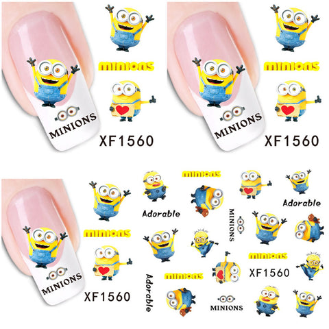 1 Aheet XF1560 Cartoon Watermark Water Transfer Design Yellow Despicable Minion Tip Nail Art Sticker Nails Decal Manicure Tools - Cerkos.com