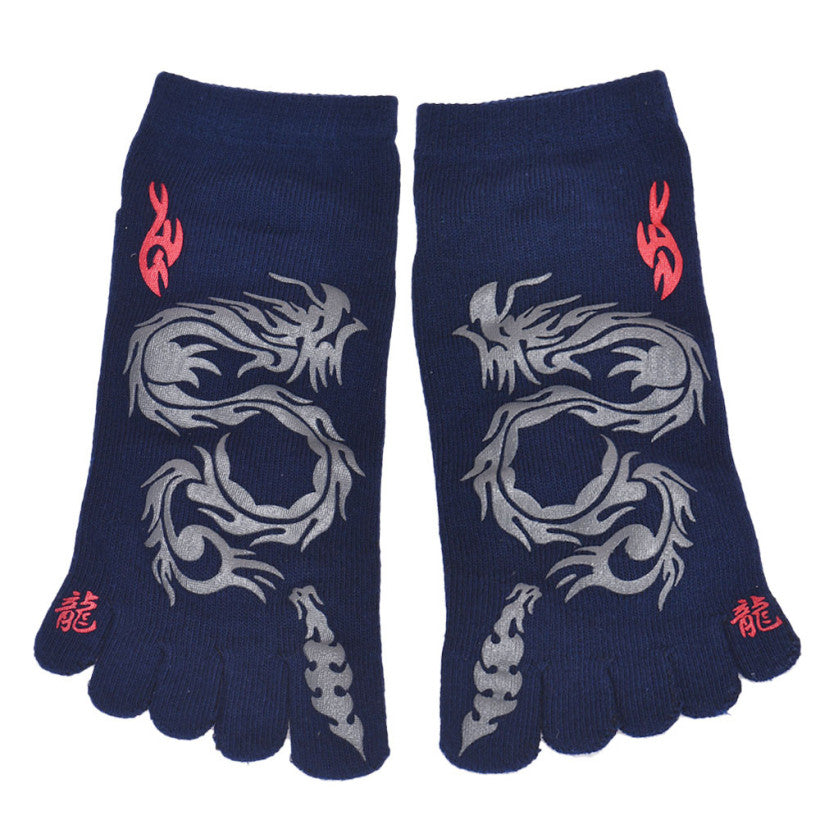 Creative 2015 Fashion New 6 Pairs Men Socks Chinese Dragon Five Fingers Trainer Toe Ankle Sport Basketball Cotton Socks - Cerkos.com