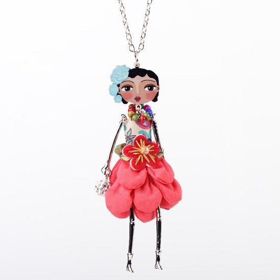 Bonsny doll necklace dress coral trendy new 2015 acrylic alloy cute girl women flower figure pendant fashion jewelry accessories - Cerkos  - 5