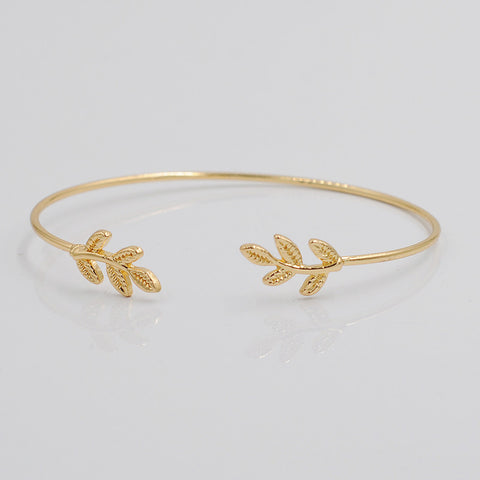 Cerkos.com: Design Leaves Gold & Silver Plated Stretch Bracelets & Bangles Thin Fashion Open Bangle - Cerkos.com